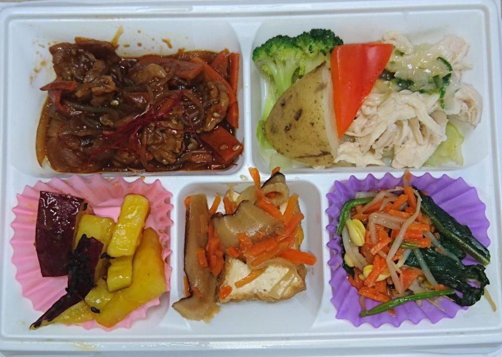 すこやか膳(牛肉の韓国風甘辛炒め&蒸し鶏のねぎソース)